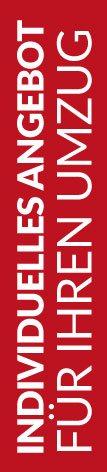 Roter Banner von Hafels Umzüge mit der Aufschrift: Individuelles Angebot für Ihren Umzug