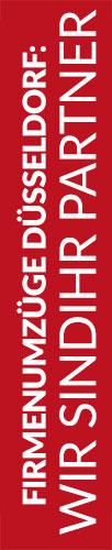 Roter Banner von Hafels Umzüge mit der Aufschrift: Firmenumzüge Düsseldorf, wir sind Ihr Partner