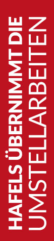 Roter Banner von Hafels Umzüge mit der Aufschrift: Hafels übernimmt die Umstellarbeiten