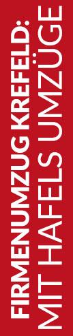 Roter Banner von Hafels Umzüge mit der Aufschrift: Firmenumzug Krefeld mit Hafels Umzüge