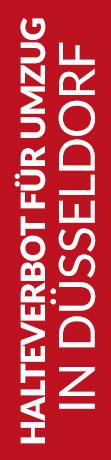 Roter Banner von Hafels Umzüge mit der Aufschrift: Halteverbot für Umzug in Düsseldorf