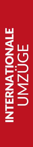 Roter Banner von Hafels Umzüge mit der Aufschrift: Internationale Umzüge