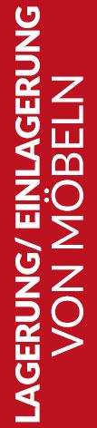 Roter Banner von Hafels Umzüge mit der Aufschrift: Lagerung/Einlagerung von Möbeln