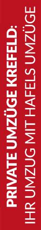 Roter Banner von Hafels Umzüge mit der Aufschrift: Private Umzüge Krefeld, Ihr Umzug mit Hafels Umzüge