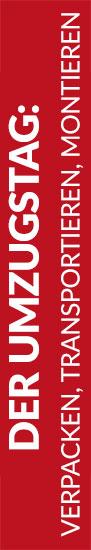 Roter Banner von Hafels Umzüge mit der Aufschrift: Der Umzugstag, verpacken, transportieren, montieren