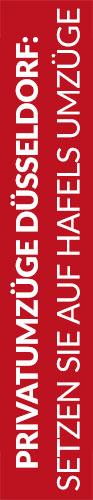 Roter Banner von Hafels Umzüge mit der Aufschrift: Privatumzüge Düsseldorf, setzen Sie auf Hafels Umzüge