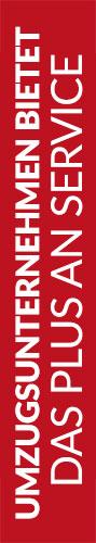 Roter Banner von Hafels Umzüge mit der Aufschrift: Umzugsunternehmen bietet das plus an Service