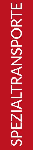Roter Banner von Hafels Umzüge mit der Aufschrift: Spezialtransporte