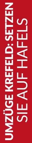 Roter Banner von Hafels Umzüge mit der Aufschrift: Umzüge Krefeld, setzen Sie auf Hafels