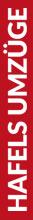Roter Banner von Hafels Umzüge mit der Aufschrift: Hafels Umzüge