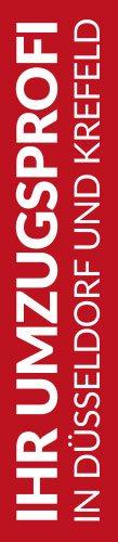 Roter Banner von Hafels Umzüge mit der Aufschrift: Ihr Umzugsprofi in Düsseldorf und Krefeld
